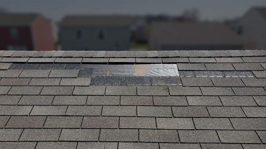 Ohio wind damaged roof missing shingles blown away